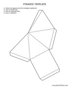Printable 3D Pyramid Template Color It Cut Out Fold And Glue Together