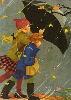 Young girl and boy walking in the rain with an umbrella. Illustration by Martta Wendelin Art And Illustration, Vintage Illustrations, Umbrella Art, Under My Umbrella, Walking In The Rain, Singing In The Rain, Boy Walking, Rainy Days, Vintage Children