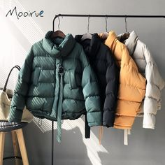 Mooirue Manteau Femme Hiver Winter Casual Women Bomber Jacket Coat Down High Neck Parka Ring Zipper Thicken Female Coat