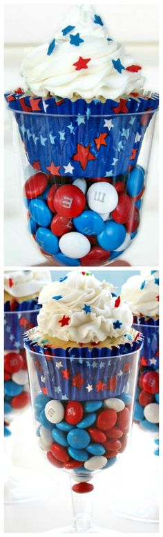 Red, White, and Blue Cupcakes Served in Wine Goblets ~ Festive and fun... Simply fill a plastic wine goblet or champagne flute with red, white, and blue candies and set the cupcake on top.