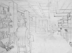 Clara Lieu, Student Artwork, RISD Illustration department, Drawing I: Visualizing Space course, studies on one point perspective from direct observation, graphite, 2016