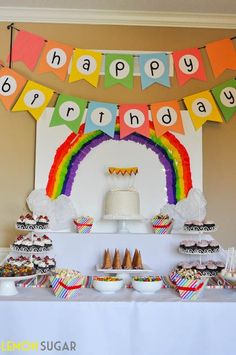 Adorable rainbow-themed birthday party for little girls including rainbow cupcakes, balloon garland, dresses, dessert table and more! Rainbow Loom Party, Rainbow Unicorn Party, Rainbow Parties, Rainbow Theme, Rainbow Cupcakes, Happy Birthday Decor, Colorful Birthday Party, 4th Birthday Parties, Birthday Ideas