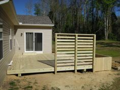 Floating Wood Patio Deck Designs | Treated Lumber Floating Deck With Privacy  Panels/Planter Box