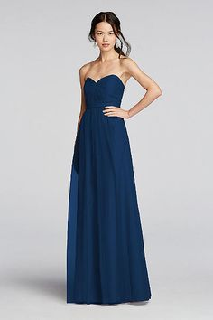 Strapless Tulle Long  Dress with Removable Belt W10888 david bride size 20