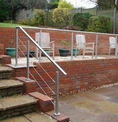 Need a stainless steel handrail for your garden? SWR Balustrade have just the thing with the Modular System with Wire Rope Infill. Outdoor Handrail, Staircase Railings, Staircases, Handrail Fittings, Handrail Brackets, Pavillion Backyard, Wire Balustrade, Stainless Steel Balustrade, Raised Patio