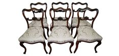 Elegant Set Of Six Victorian Rosewood Dining Chairs in Jim Dickens fabric - Sold by The Sittings Place Dining Chairs, Victorian, Elegant, Antiques, Places, Fabric, Things To Sell, Classy, Antiquities