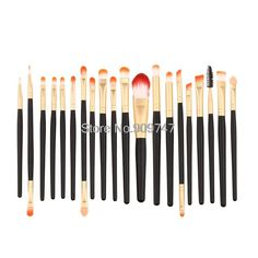 Pro 20Pcs Makeup Brushes White and Golden Colors Set