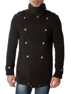 Brown Melton Double Breasted High Neck Pea Coat