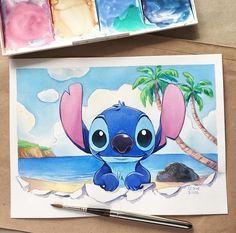 Hi Stich! Art Drawings Sketches, Cartoon Drawings, Cool Drawings, Cute Disney Drawings, Disney Sketches, Disney Stitch, Lilo And Stitch, Stitch Drawing, Disney Paintings
