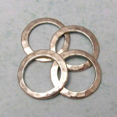 Small Hammered Ring Connector Antique Silver 13 MM 4Pc by FabBeads, $4.00