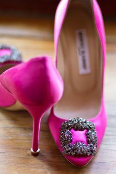 Pink Manolos.