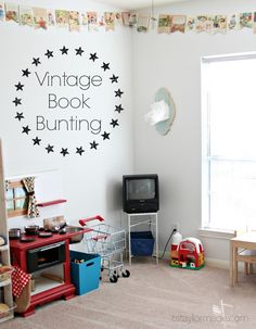•❈• Vintage Book Bunting - Taylor Made   I absolutely love this idea.  If you love books, this is the perfect accent for your child's room.