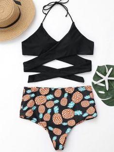 d01722d5de2 Plus Size Pineapple Print Wrap Bikini Swimwear - Black Xl Swimwear Fashion
