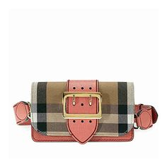 #Burberry Small Buckle #Bag in House Check and Leather -