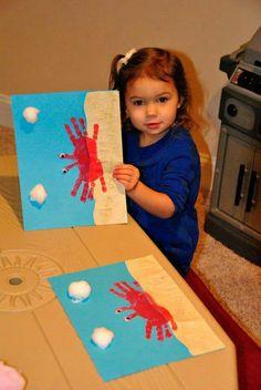 Crab handprint painting