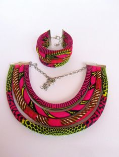 Fuchsia necklace with bracelet set/ ethnic holiday gift/ Tribal wedding jewelry set/ African jewelry/ fabric necklace set