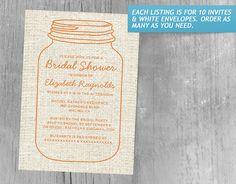 Orange Rustic Burlap Mason Jar Bridal Shower Invitations