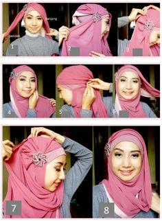 of draping a hijab-a Muslim attire for women Square Hijab Tutorial, Simple Hijab Tutorial, Hijab Style Tutorial, Muslim Women Fashion, Islamic Fashion, Modest Fashion, Tutorial Hijab Wisuda, How To Wear Hijab, Hijab Fashionista