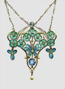 Art Nouveau gold and enamel Forget Me Nots pendant
