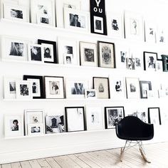 Black and white gallery wall in the Danish home of Annika Von Holdt.