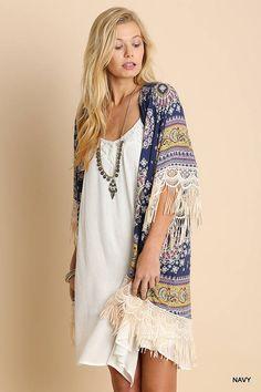 PAISLEY FRINGE KIMONO, Multi Color Kimono, Boho Kimono, Kimono Cardigan, Boho Clothing by NADYASCLOSET on Etsy
