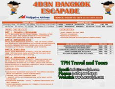 4 DAYS BANGKOK ESCAPADE (With Round trip Airfare via Philippine Airlines) Minimum of 2 persons  For more inquiries please call: Landline: (+63 2)282-6848 Mobile: (+63) 918-238-9506 or Email us: info@travelph.com #Bangkok #Thailand #TravelPH #TravelWithNoWorries Airline Travel, Travel Tours, Beach Hotels, Beach Resorts, Baguio, Travel Dating, Round Trip, Bangkok Thailand, Travel Agency