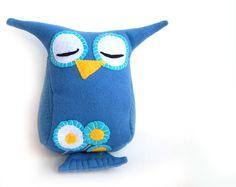 Blue Owl toy felt cuddle soft plush toy for baby. $20.00, via Etsy.