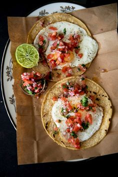 Call these what you like a taco or Huevos rancheros but yummy is for sure!  Fried Egg Tacos