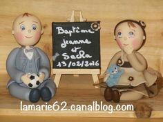 figurine pour baptême Jeanne et Sacha