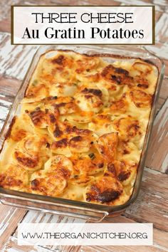 This 3 cheese Au Gratin Potatoes dish is easy to make and is one of my favorite side dishes. This cheesy potato casserole has layers of thin potatoes topped with a homemade cheese sauce and is baked until browned and bubbly! Pretty enough for guests, easy Potatoes Au Gratin, Cheese Potatoes, Baked Potatoes, Augratin Potatoes Recipe, Au Gratin Sauce Recipe, Homemade Au Gratin Potatoes, Potatoes Dauphinoise, Potato Sides, Potato Side Dishes