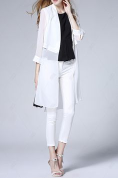 Solid Color Long Cardigan - WHITE L