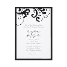 Black and White swirls Wedding Invitation  This classy and chic wedding invitation features a stylish black swirls and boarder against a white colored background. Fully customizable text allows you to customize for any occasion from weddings to bridal showers and wedding showers