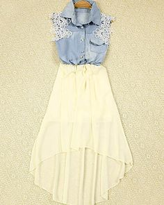 Price:$25.00 Color: Black/Yellow/Blue Bohemia Style Lace Denim spliced Chiffon High-low Hemline Dress