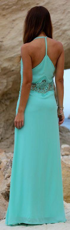 Lace trim detail mint maxi dress fashion
