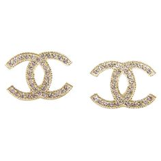 Pre-Owned Chanel CC Earrings in Gold Plating and Rhinestones ($450) ❤ liked on Polyvore