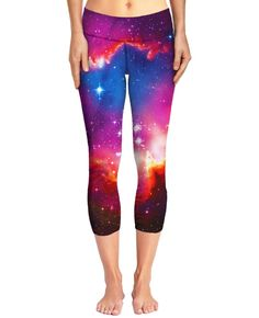 Cosmic Forces Capri Yoga Pants.    These garments are made from a 100% specially spun polyester, with each design being made-to-order. Due to each of these products being cut and sewn specifically for you, there may be discrepancies in the design. Our team works extremely hard to get the design to be laid out exactly as seen in the photo, however, there may be design overlapping on the seams.