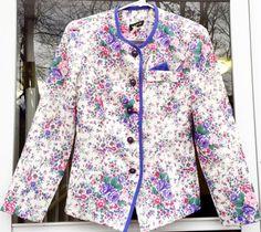 Women's Cute Vintage 80s 90s Purple Floral Blazer Jacket Pretty In Pink Size 8  | eBay