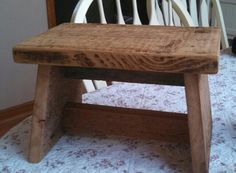 Kids step stool from reclaimed barn board