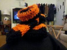 Philadelphia flyers baby booties hand crocheted $ 10 Alex Draven Designs on facebook and instagram