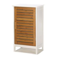"""Kyoto Storage Cabinet  Ideal for small spaces, this handsome storage cabinet tucks away clutter in style! Glossy white outer and elegant bamboo slat doors fit into any décor; free standing style allows for endless placement options.  Weight 16 lbs. UPC# 817216010859. 15 3/4"""" x 11 3/4"""" x 27"""" high. Bamboo and MDF wood."""