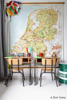 kids room - map wall with vintage school desks