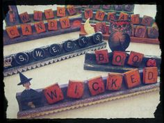 Just an image, but a good one for ideas on all the Scrabble goodies I just scored! Halloween Projects, Holidays Halloween, Vintage Halloween, Halloween Crafts, Halloween Labels, Halloween Ideas, Halloween Decorations, Vintage Witch, Halloween Halloween