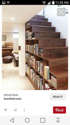 Basement stair storage