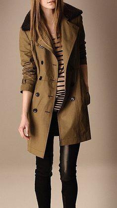 Girl In Military Inspired Trench Coat