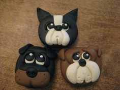 Bulldog Rottweiler and Boston Terrier Polymer Clay by VibrantPony, $6.00