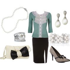 Pearls w/Black and Cream and light Teal, created by anakt.polyvore.com