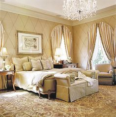 love the walls, chandelier, bench