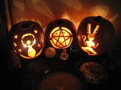 Awesome pagan pumpkins! I've been doing one like the middle one for years.