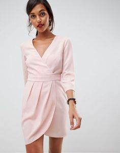 Find the best selection of ASOS DESIGN mini dress with wrap skirt. Shop today with free delivery and returns (Ts&Cs apply) with ASOS! Going Out Dresses, Nice Dresses, Dresses With Sleeves, Formal Dresses, Mode Online, Asos Curve, Latest Dress, Models, Lace Tops