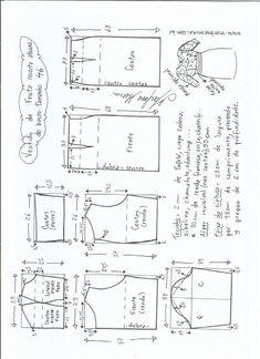 Esquema de modelagem de vestido de festa com recorte abaixo do busto tamanho 46.